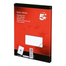 5 Star Office Multipurpose Labels Laser Copier and Inkjet 2 per Sheet 199.6x143.5mm White 200 Labels