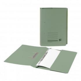5 Star Office Transfer Spring Pocket File Recycled Mediumweight 285gsm Foolscap Green Pack of 25