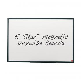 5 Star Office Magnetic Drywipe Board Steel Trim with Fixing Kit and Detachable Pen Tray W1200xH900mm