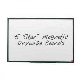 5 Star Office Magnetic Drywipe Board Steel Trim with Fixing Kit and Detachable Pen Tray W1800xH1200mm