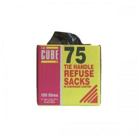 Le Cube Refuse Sacks with Tie Handle in Dispenser Box 100L 1474x1066mm Black Ref 0481 Pack of 75