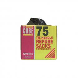 Cheap Stationery Supply of Le Cube Refuse Sacks with Tie Handle in Dispenser Box 100L 1474x1066mm Black 0481 Pack of 75 Office Statationery