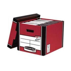 Bankers Box Premium Storage Box (Presto) Tall Red FSC Ref 7260701 Pack of 10