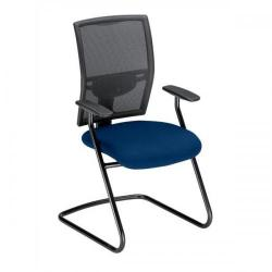 Cheap Stationery Supply of Adroit Zeste Cantilever Fabric Medium Back Chair (Ocean/Black Upholstery with Metal Frame) with Fixed Arms SP433351 Office Statationery