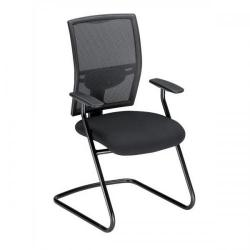 Cheap Stationery Supply of Adroit Zeste Cantilever Fabric Medium Back Chair (Onyx/Black Upholstery with Metal Frame) with Fixed Arms SP433368 Office Statationery