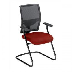 Cheap Stationery Supply of Adroit Zeste Cantilever Fabric Medium Back Chair (Wine/Black Upholstery with Metal Frame) with Fixed Arms SP433376 Office Statationery
