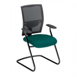 Cheap Stationery Supply of Adroit Zeste Cantilever Fabric Medium Back Chair (Jade/Black Upholstery with Metal Frame) with Fixed Arms SP433384 Office Statationery