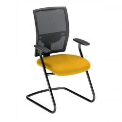 Cheap Stationery Supply of Adroit Zeste Cantilever Fabric Medium Back Chair (Sunset/Black Upholstery with Metal Frame) with Fixed Arms 433408 Office Statationery