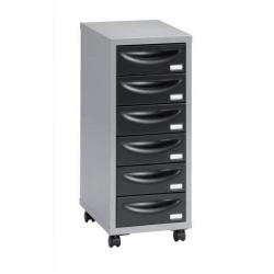 Cheap Stationery Supply of Pierre Henry Multi Drawer Storage Cabinet Steel 6 Drawers (Silver/Black) 095992 Office Statationery