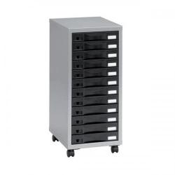Cheap Stationery Supply of Pierre Henry Multi Drawer Storage Cabinet Steel 12 Drawers W300xD390xH710mm Silver and Black 95993 095993 Office Statationery