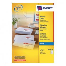 Avery Quick DRY Addressing Labels Inkjet 21 per Sheet 63.5x38.1mm White Ref J8160-100 2100 Labels