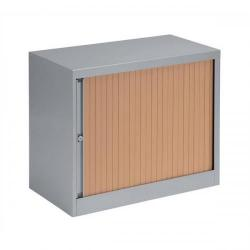 Cheap Stationery Supply of Bisley A4 EuroTambour ET408/06 (695mm) Single Door Low Cupboard (Silver Frame/Beech Shutter) ET408/06 BC arn Office Statationery