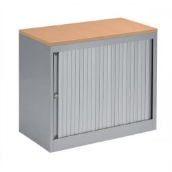 Cheap Stationery Supply of Bisley EuroTambour (720mm) Single Door Low Cupboard (Silver Frame/Silver Shutter with Beech Top) SP437878 Office Statationery
