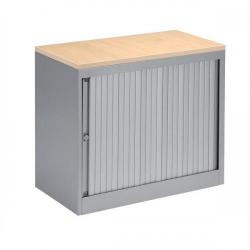 Cheap Stationery Supply of Bisley EuroTambour (720mm) Single Door Low Cupboard (Silver Frame/Silver Shutter with Maple Top) SP437885 Office Statationery
