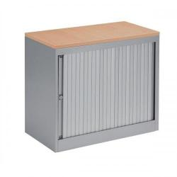 Cheap Stationery Supply of Bisley EuroTambour (720mm) Single Door Low Cupboard (Silver Frame/Silver Shutter with Oak Top) SP437893 Office Statationery