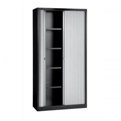 Cheap Stationery Supply of Bisley A4 EuroTambour ET410/19 (1980mm) Tall Cupboard with 4 Shelves (Black Frame/Silver Shutters) ET410/19/4S.SL-av1 Office Statationery