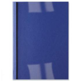 GBC Thermal Binding Covers 6mm Front PVC Clear Back Leathergrain A4 Royal Blue Ref IB451034 Pack of 100