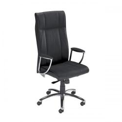 Cheap Stationery Supply of Adroit Zelo Leather Medium Back Chair (Black Upholstery with Chrome Metal Frame) with Fixed Arms 463292 Office Statationery