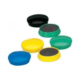 5 Star Office Round Plastic Covered Magnets 30mm Assorted Pack of 10