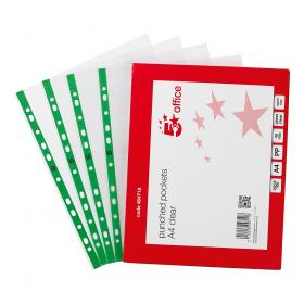 5 Star Office Punched Pocket Polypropylene Green Strip Top-opening 45 Micron A4 Glass Clear Pack of 100