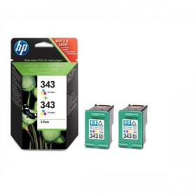 Hewlett Packard HP No.343 Inkjet Cartridge Page Life 260pp 7ml Tri-Colour Ref CB332EE Pack of 2