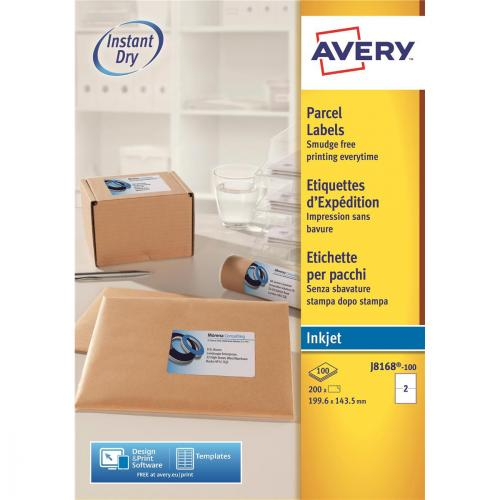 2 Labels Per A4 Sheet QuickDRY Inkjet Printers Avery Self Adhesive Parcel Shipping Labels J8168 200 labels