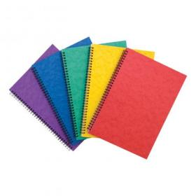 Notebook Sidebound Twin Wire 80gsm Ruled/Perforated 120pp A4 Assorted Colours A Pack of 10