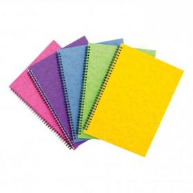 Notebook Sidebound Twin Wire 80gsm Ruled & Perforated 120pp A4 Assorted Colours C Pack of 10