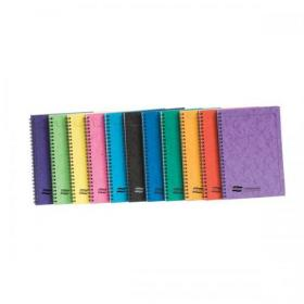 Notebook Sidebound Twin Wire 80gsm Ruled & Perforated 120pp A5 Assorted Colours A Pack of 10
