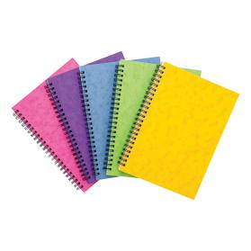 Notebook Sidebound Twin Wire 80gsm Ruled & Perforated 120pp A5 Assorted Colours C Pack of 10
