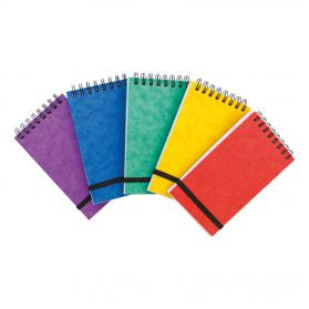 Note Pad Headbound Twin Wire 80gsm Ruled/Perfd/Elastic Strap 120pp 76x127mm Asstd Colours A Pack of 20