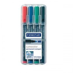 Cheap Stationery Supply of Staedtler Lumocolor Compact Permanent Marker Line Width 1-2mm Assorted Colours (1 x Wallet of 4) 342WP4 Office Statationery