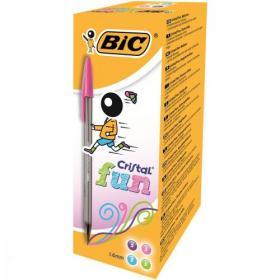 Bic Cristal Fun Ball Pen Large 1.6mm Tip 0.42mm Line Assorted Ref 895793 Pack of 20