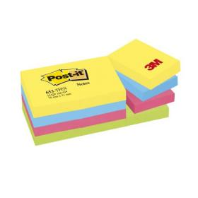 Post-it Colour Notes Pad of 100 Sheets 38x51mm Energetic Palette Rainbow Colours Ref 653TFEN Pack of 12