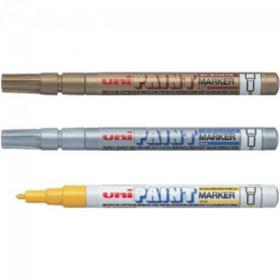 Uni Paint Marker Bullet Tip Fine Point PX21 Acrylic Nib 1.2mm Silver Ref 558742000 Pack of 12