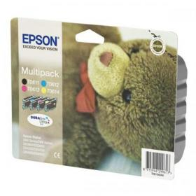 Epson T0615 Inkjet Cart Teddybear Page Life Black/Cyan/Magenta/Yellow 250pp 8ml Ref C13T06154010 Pack of 4