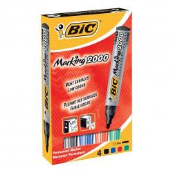 Cheap Stationery Supply of Bic Marking 2000 Permanent Marker Wallet Bullet Tip Line Width 1.7mm Assorted 820911 Pack of 4 Office Statationery