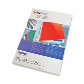 GBC Binding Covers Plain 250gsm A4 Gloss White Ref CE020071 Pack of 50x2