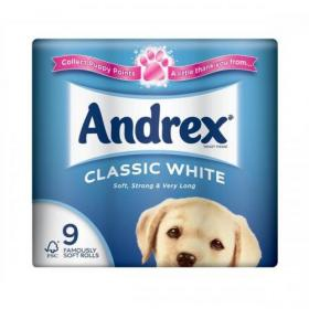 Andrex Toilet Rolls Classic Clean 2-Ply 124x103mm 200 Sheets White Ref 1102055 Pack of 9