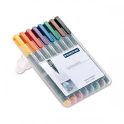 Cheap Stationery Supply of Staedtler Lumocolor 313 (0.4mm) Permanent Universal Pen (Assorted Colours) 1 x Wallet of 8 313WP8 Office Statationery