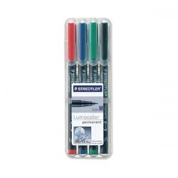 Cheap Stationery Supply of Staedtler Lumocolor 317 (1mm) Permanent Universal Pen (Assorted Colours) 1 x Wallet of 4 317WP4 Office Statationery