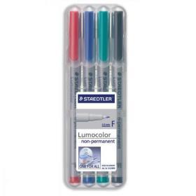 Staedtler 316 Lumocolor Pen Non-permanent Fine 0.6mm Line Assorted Ref 316WP4 Wallet 4
