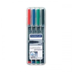 Cheap Stationery Supply of Staedtler Lumocolor 318 (0.6mm) Permanent Universal Pen (Assorted Colours) 1 x Wallet of 4 318WP4 Office Statationery