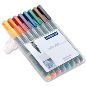 Staedtler 316 Lumocolor Pen Non-permanent Fine 0.6mm Line Assorted Ref 316WP8 Wallet 8