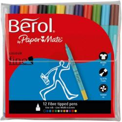 Cheap Stationery Supply of Berol Colour Fine Pens with Washable Ink 0.6mm Line Wallet Assorted 2057599 Pack of 12 Office Statationery