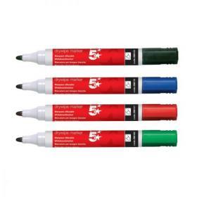 5 Star Office Drywipe Marker Xylene/Toluene-free Bullet Tip 3mm Line Wallet Assorted Pack of 12