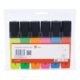 5 Star Office Highlighter Chisel Tip 1-5mm Line Wallet Assorted Pack of 6