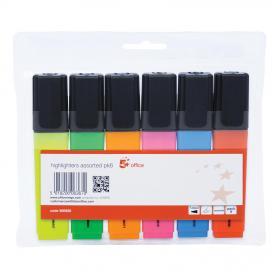 5 Star Office Highlighter Chisel Tip 1-5mm Line Wallet Assorted Pack of 6