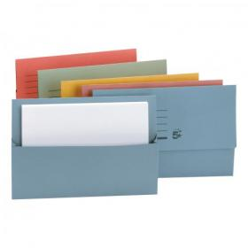 5 Star Office Document Wallet Half Flap 250gsm Recycled Capacity 32mm Foolscap Assorted Pack of 50