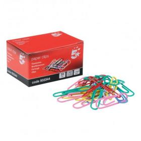5 Star Office Paperclips Metal Plain Large Length 33mm Assorted Colours Pack of 10x100